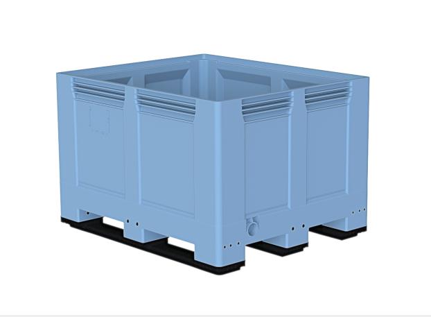 Heavy Duty Palletbox 1200x1000x787 mm gesloten op 3 sleeplatten