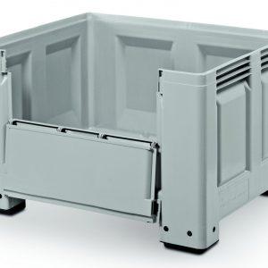 Inklapbare palletbox 1200 x 1000 x 760 mm gesloten op 4 poten
